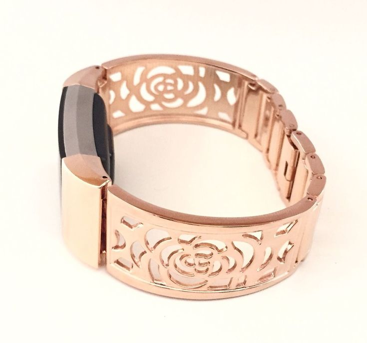 Metal Rose Gold Flowers Design Band for Fitbit Charge 2 Small Medium Large Size