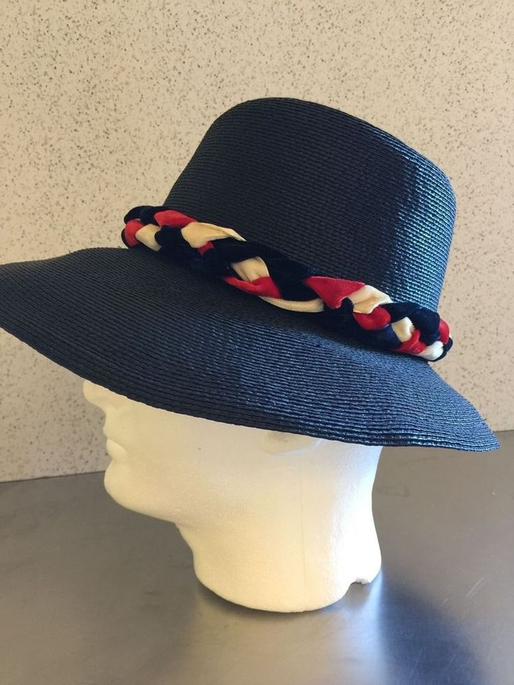 Vintage Ladies Straw Hat Navy Red White Bucket Hat Dana Marte Chapeau Originale  #DanaMarteChapeauOriginale #Church #Everyday