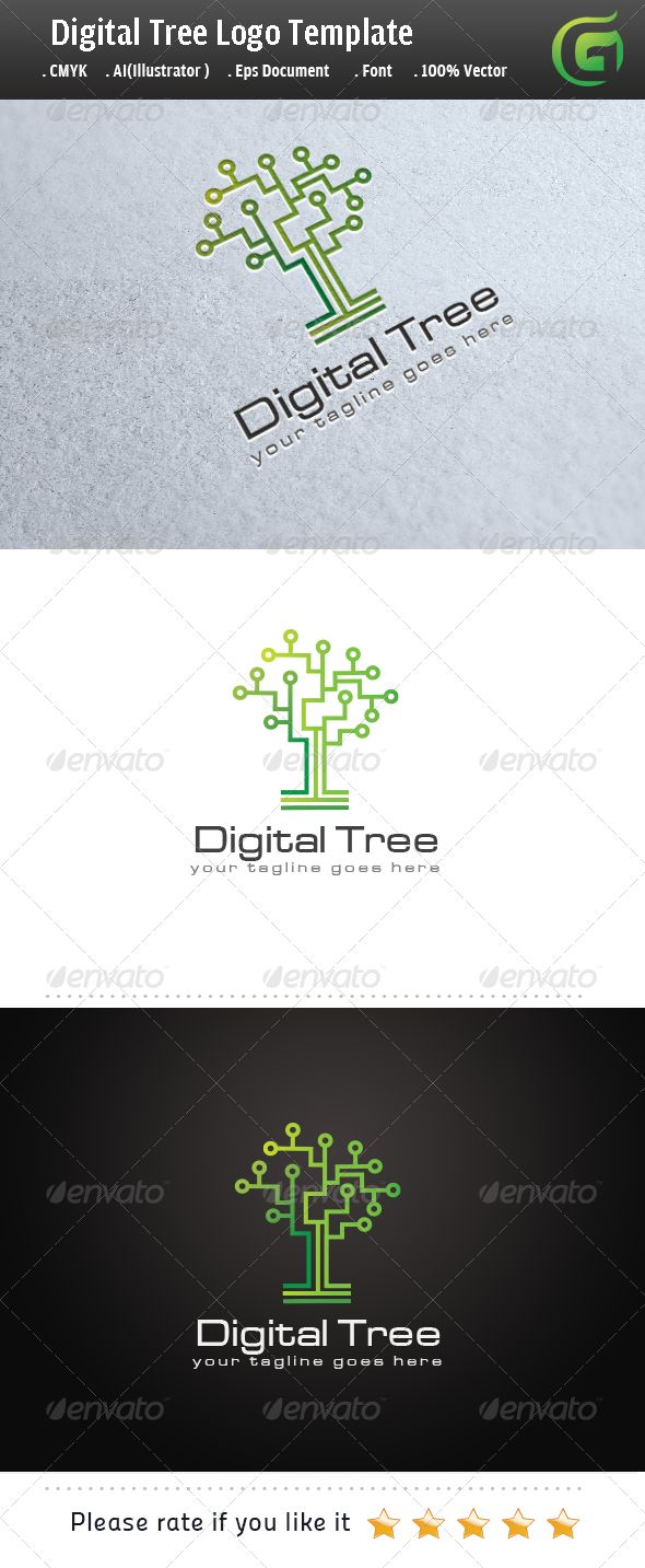 Digital Tree #GraphicRiver Logo Description: The logo is Easy to edit to your own company name.