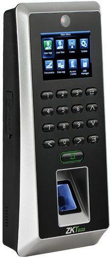"""Биометрический контроллер с новым сканером SilkID ZKT F21 ID ZKT-F21-ID Биометрический терминал ZKTeco F21 - первый в линейке оборудования ZKTeco контроллер учета и контроля с технологией распознавания SilK ID. Это позволяет идентифицировать с высокой долей вероятности не только сухие, мокрые и грубые пальцы, но и обеспечивается высокая безопасность в связи с определением только """"живых"""" пальцев.Устройство имеет встроенную WEb камеру, что позволяет:Регистрировать фото пользователя в базе с…"""
