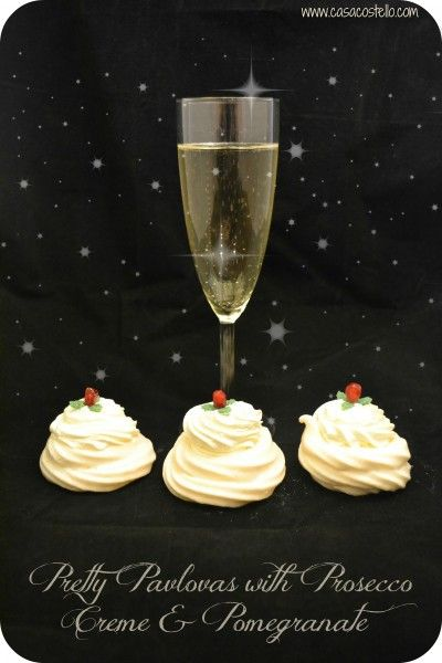Christmas Pavlovas with Prosecco Creme & Pomegranate ~ by @CasaCostello