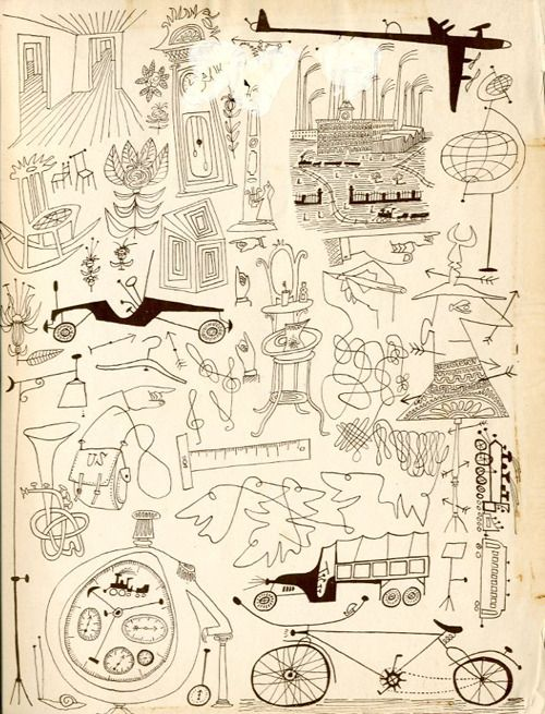 Saul Steinberg – Endpapers from Steinberg's 1945 book All in Line