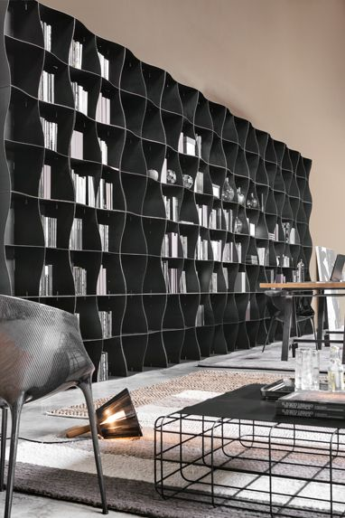 Iron-ic #modular #bookcase by Ronda Design. #metal #iron #storagesystem