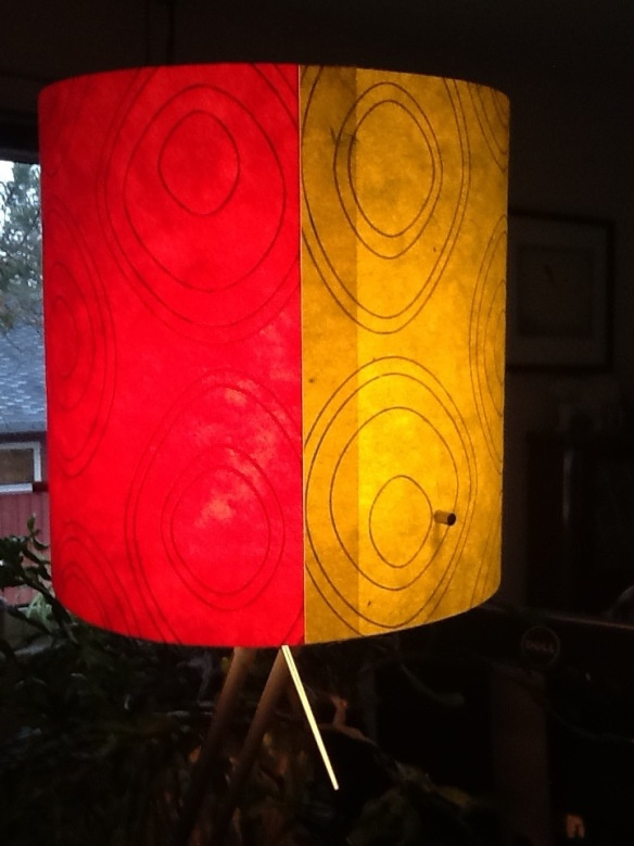 Lamp shade made of paper in two different colours. 20130509-144902.jpg