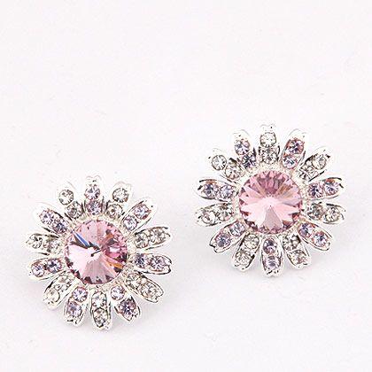 Aros plateados, con circones checos (originales), en rosado, lavanda y blanco. Ideal para un matrimonio o fiesta especial. $7.000