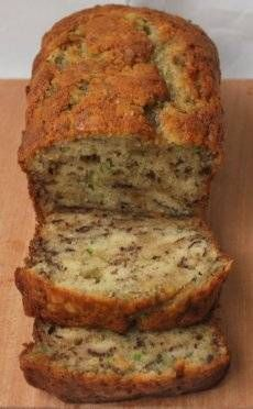 Zucchini Banana Bread - used 1/3 cup maple syrup in place of sugar and used 1/4 cup applesauce + 1/4 cup oil (instead of all oil). Baked 45 minutes.