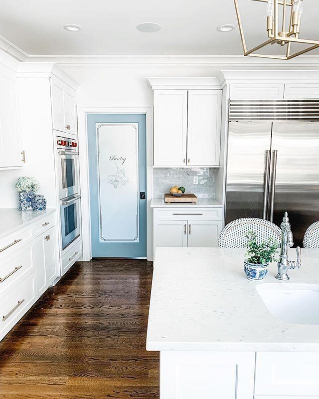 Happiness Is Fresh Flowers From The Market And My Blue Pantry Door Pantry Pantrydoor Bluedoor Kitchendesign W Pantry Door Kitchen Design White Kitchen