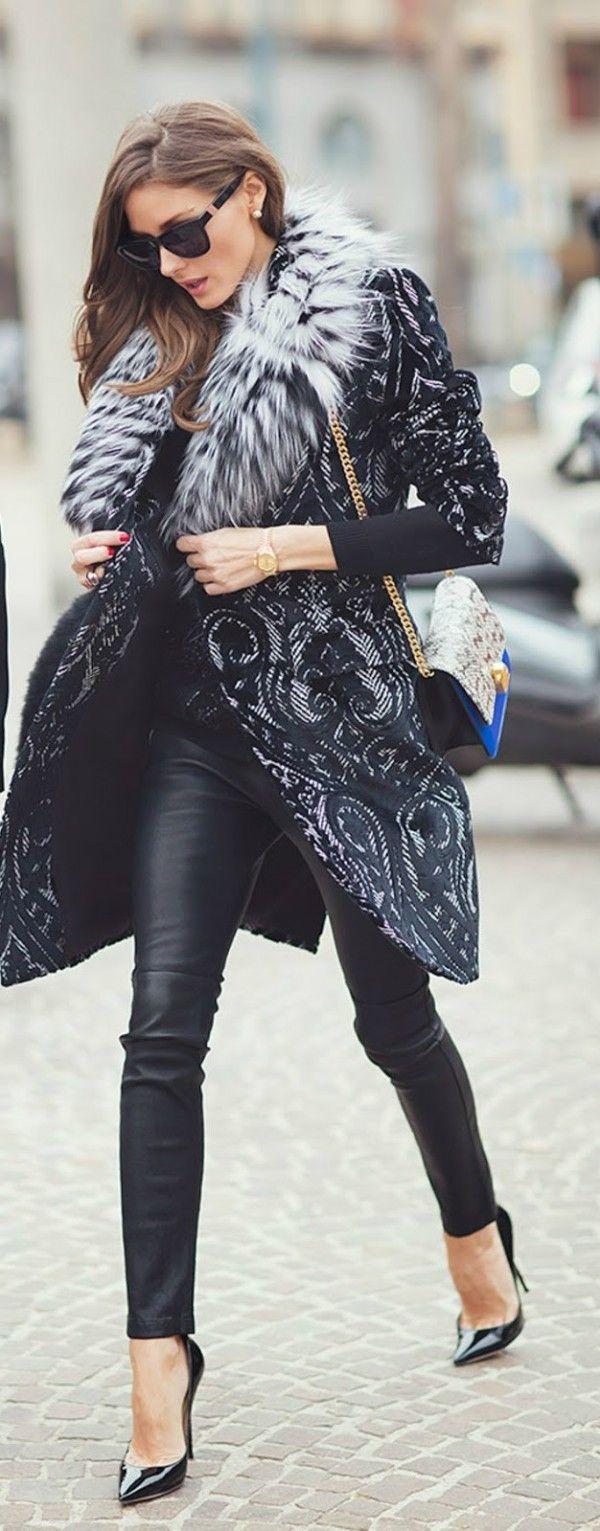 Olivia Palermo: fotos look abrigo negro Milan Fashion Week