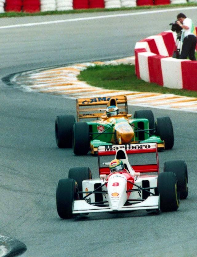 Ayrton Senna ~ MP4/8 & Michael Schumacher ~ B193 ~ 1993 Brazilian Grand Prix