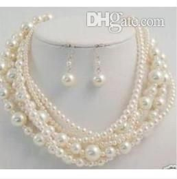 Wholesale Bracelet, Earrings & Necklace - Buy Best Buy Pearl Jewelry Fine NaturalLONGER 100 7 TO 12MM SOUTH SEA PERFECT ROUND WHITE PEARL NECKLACE EARRING, $45.11 | DHgate