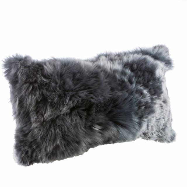 Chamonix alpaca fur cushion cover, grey