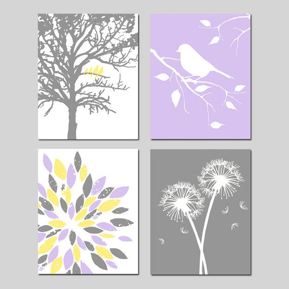 Yellow Purple Grey Gray Baby Girl Nursery Art Quad  by Tessyla
