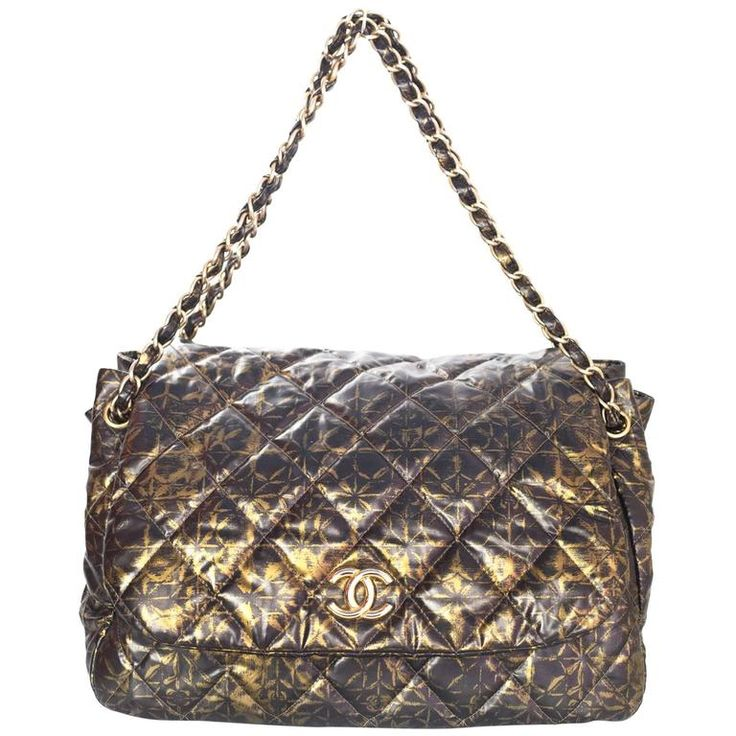 Chanel Black and Gold Quilted Print Accordion Flap Bag    €1.470,40