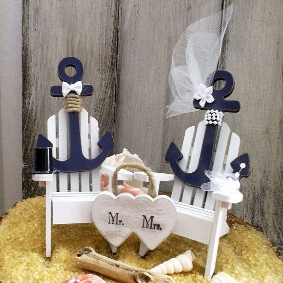 Nautical Wedding Cake Topper, Anchor Wedding Cake Topper, Adirondack Chair…