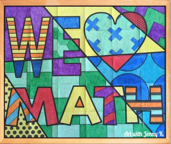 """FREE """"We love math"""" collaboraiton poster for bulletin boards from Art with Jenny K."""