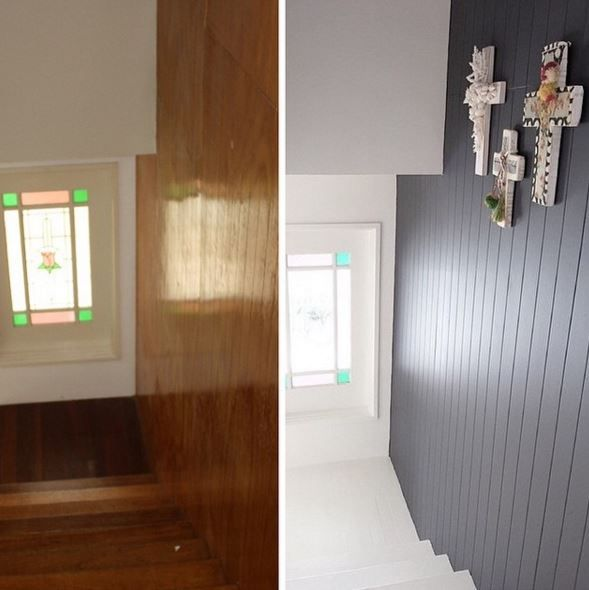 With a bit of help from Taubmans, Three Bird Renovations modernise this staircase using the shade Blackjack