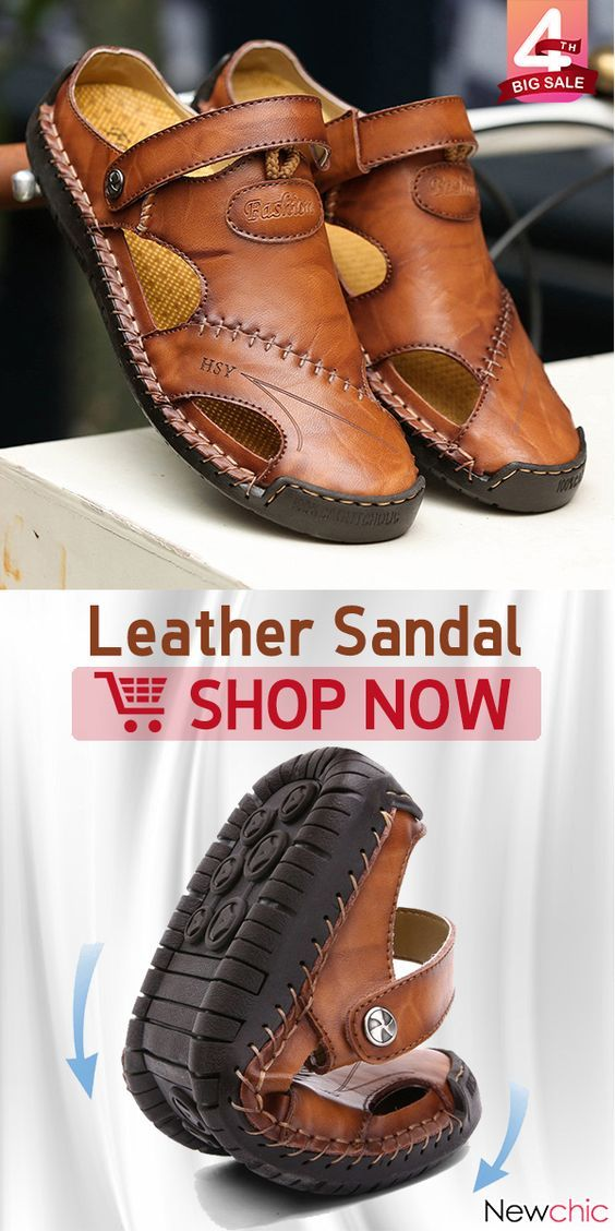 263815a64 【49% off】Men Hand Stitching Soft Outdoor Closed Toe Leather Sandals. #men # sandals #mensfashion