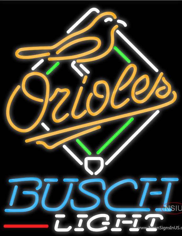 Busch Light Baltimore Orioles MLB Real Neon Glass Tube