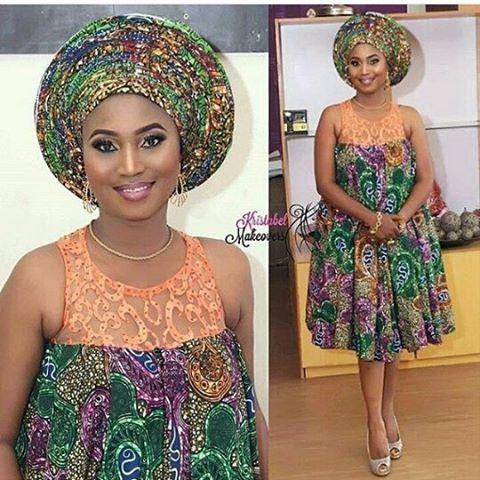 Simplicity #asoebi #asoebispecial #speciallovers #wedding #makeover #dress #africanprint #facebeatby @kristabelmakeovers