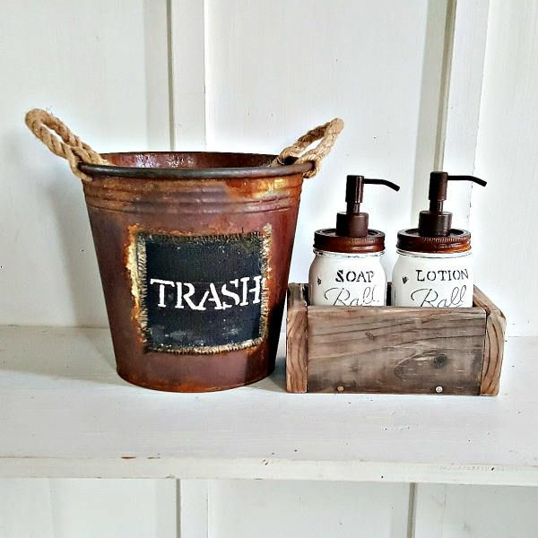 Rustic Mason Jar Bathroom Set. WHITE. Mason Soap Dispenser Set. Mason Lotion Dispenser. Wood Soap Box. Rustic Waste Basket. Farmhouse Decor by Kksmercantile on Etsy