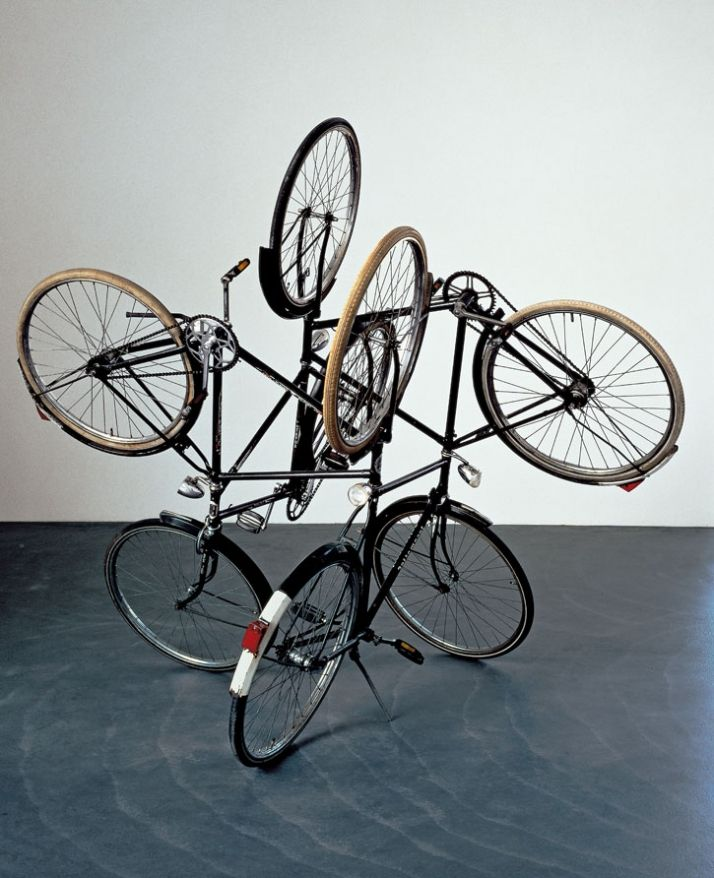 A Retrospective of Mexican Artist Gabriel Orozco | Yatzer-  These bicycles have a sense of unity, because they are all intertwined.  Orozco used a lot of overlapping and perspective for this piece.  You get to see multiple angles at one time.