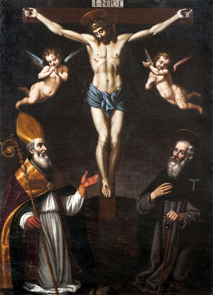 Pittore del XVII sec. Crocifissione tra i Santi Martino e Antonio Abate, Abeto, Preci, Chiesa di S. Martino