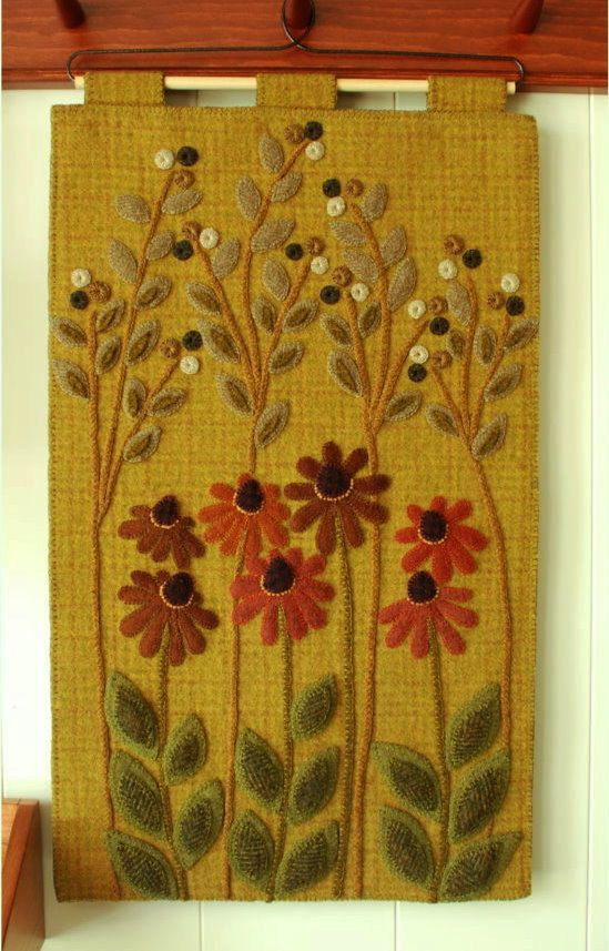 Wool applique PATTERN wall hanging penny rug coneflowers hand dyed rug hooking wool felt primitive felted wool quilt block quilted quilting