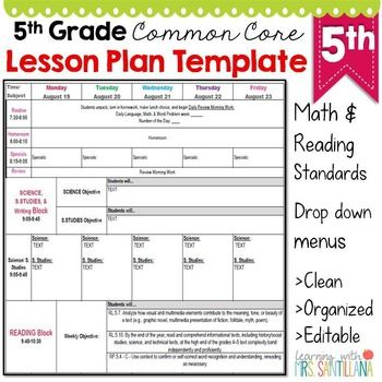 pre-made EXCEL lesson plan template has all common core standards - plan templates in excel