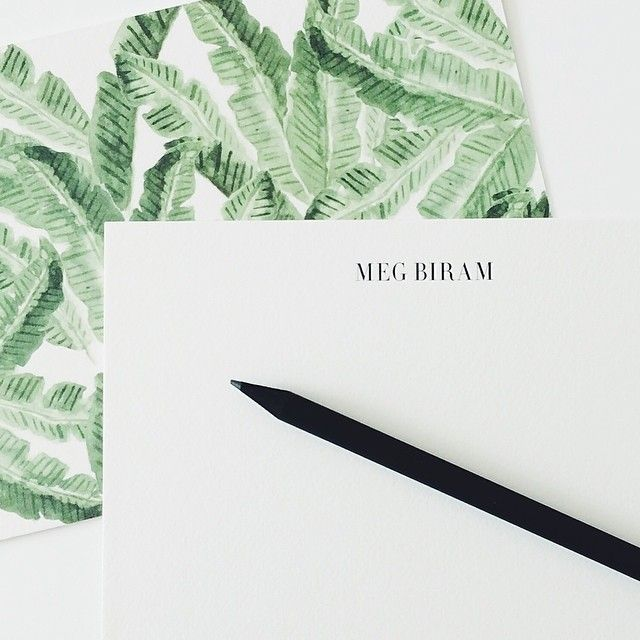 Say hello to sunny days with our vintage-inspired watercolor palm leaf print. - flat A6 classic white cards & envelopes - illustrated by Melissa Noucas - blank or personalized front; watercolor print