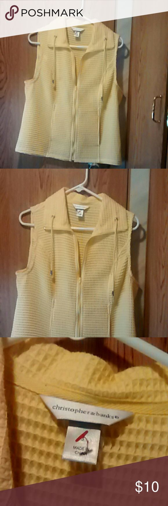 Yellow vest Zip up waffle weave vest by Christopher and Banks. Color is closest to 3rd picture. Vibrant yellow. Size Small. Excellent preowned condition. Smoking/pet home Offers and questions are welcome. Christopher & Banks Jackets & Coats Vests