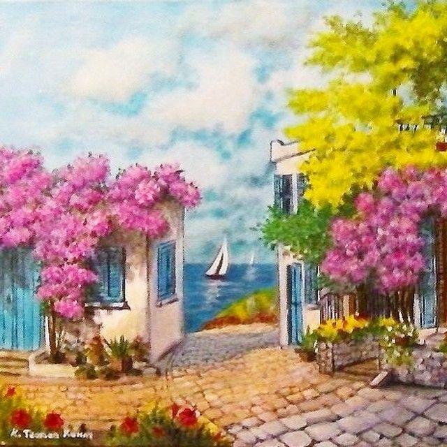 Günaydın... Bodrum sokakları #yağlıboya #oilpaint #art #artist #painting #boya #beauty #Bodrum ...