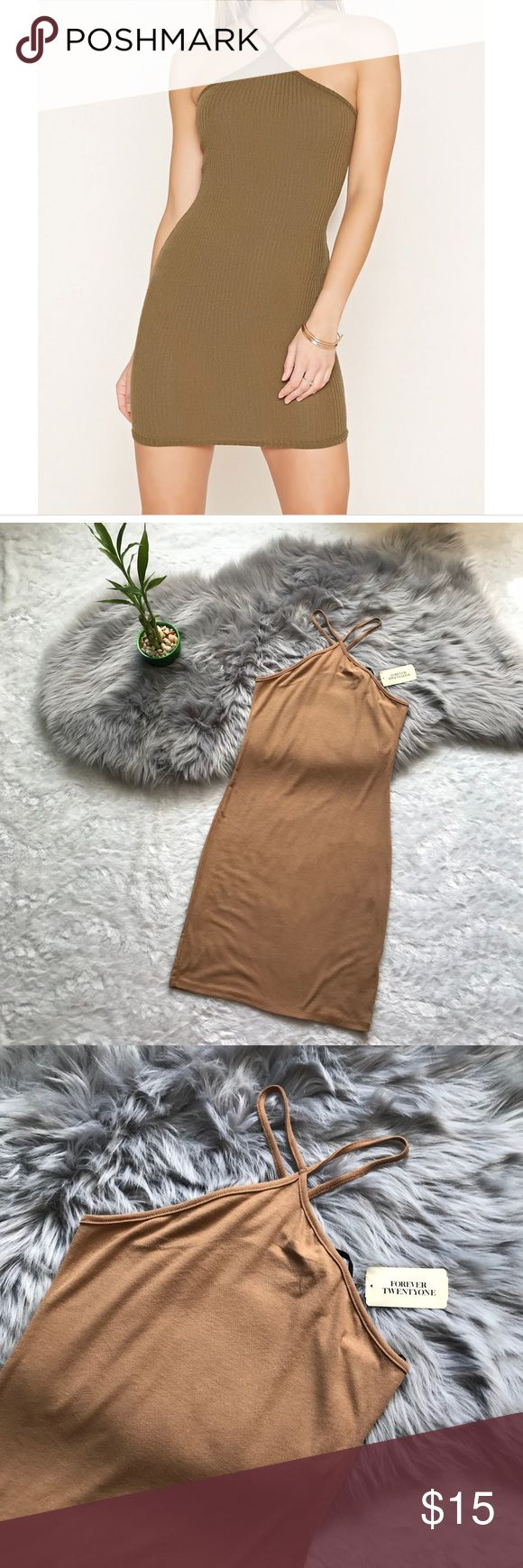 Forever 21 Camel Bodycon Dress Size: Medium Pit to Pit: 14 Length: 32.5 Dress has plenty of Stretch Forever 21 Dresses Mini