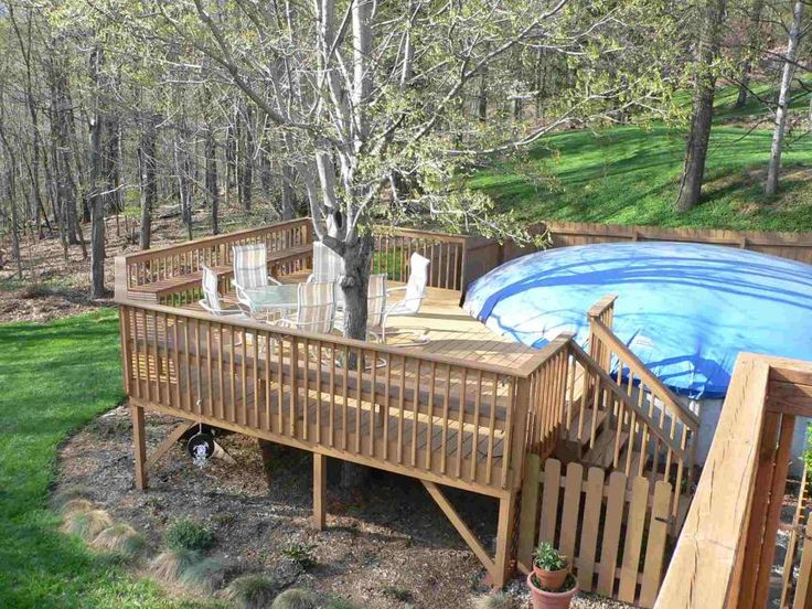66 best images about above ground pool deck designs on for Deck from house to above ground pool