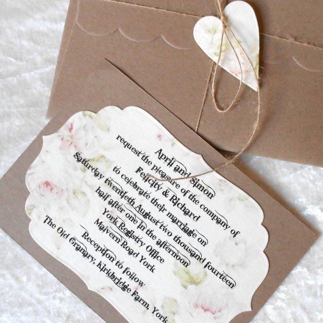 Rustic Wedding Invitations Pink Cream Brown Heart x 5 (Ref 150) £10.00