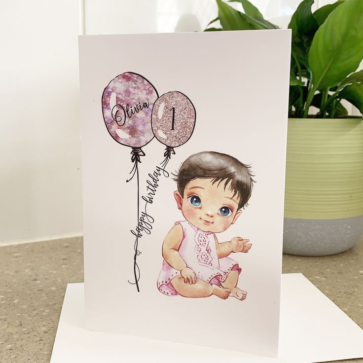 Personalised 1st Birthday Card Girl, Daughter