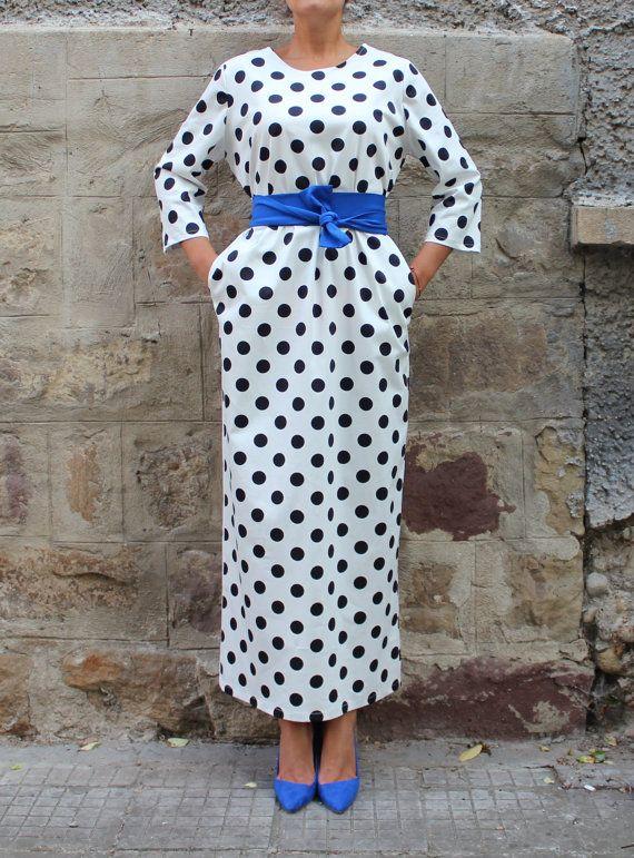 Black and white polka dots dress Maxi dress by cherryblossomsdress