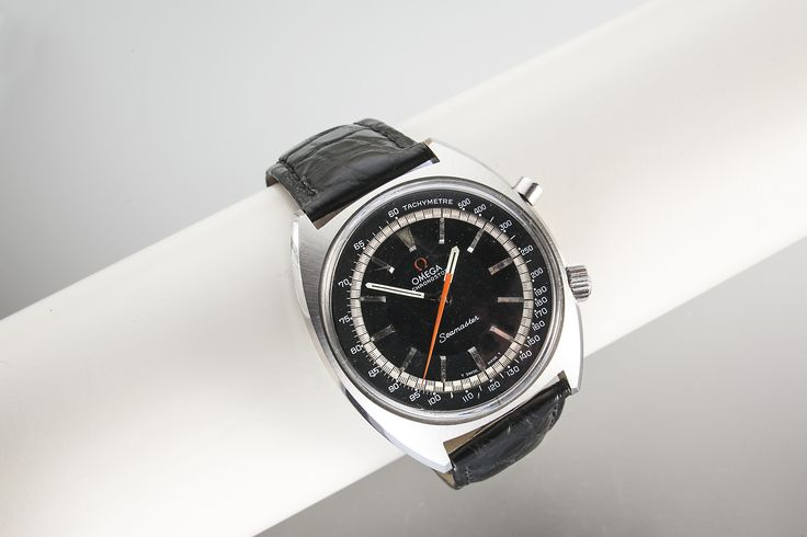 Omega Seamaster Chronostop. From c1966 this 145,007 model Omega sports watch is a collectors dream, Black dial with silver batons , chequered flag tracking and Orange center chronograph hand with an internal Tachymeter bezel in the 41mm stainless steel case which houses the Lemania developed 865 17 jewel manual wind movement which is very closely related to the …