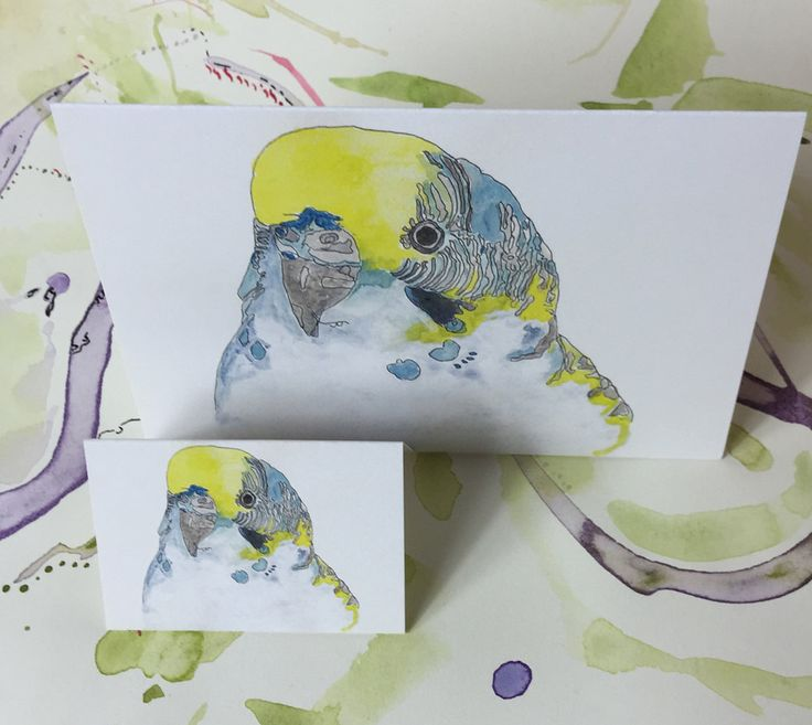 Card | budgie portrait yellow and blue |watercolour painting A6 size and gift tag set of 2 by PaperJamink on Etsy