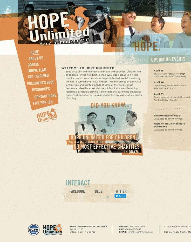 Screenshot of the hopeunlimited.org homepage by Snapito