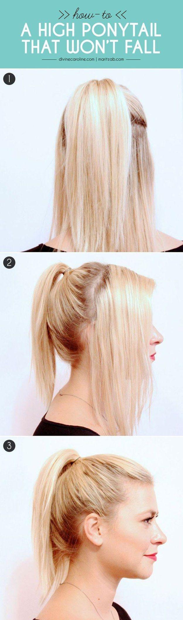 Aquí tienes una buena técnica para poner a todas esas pequeñas mechas de cabello en tu cola de caballo.   27 consejos y trucos para lograr hacer una cola de caballo perfecta