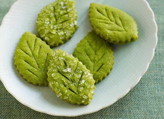Matcha Tea Leaf Shortbreads. ~  Matcha is finely powdered green tea. The cultural activity called the Japanese tea ceremony centers on the preparation, serving, and drinking of matcha.