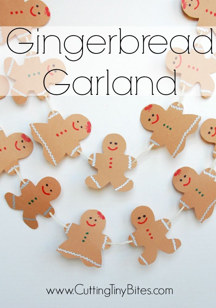 Gingerbread Garland- Great Christmas craft and decoration for toddlers, preschoolers, or older children!