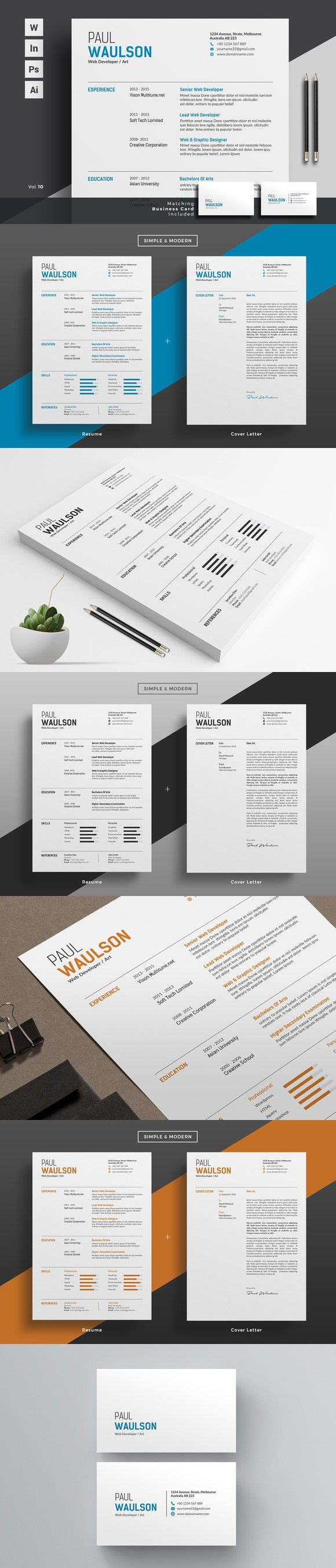 Professional Resume CV Word. Business Infographic