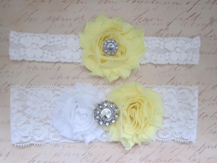 Light Yellow Wedding Garter Set - Choose White or Ivory & Rhinestone or Pearl. $20.00, via Etsy. lemon buttercream