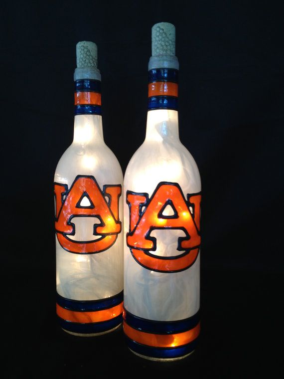 Auburn Tigers Wine Bottle Lamp via Etsy