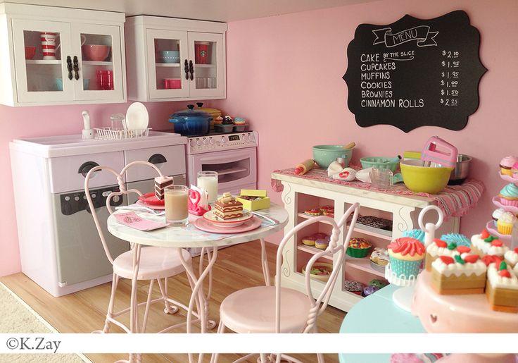American Girl Doll Bakery  by Kim Zay  www.AGDesignCraftCreate.blogspot.com  Sweet shop | Bakery | Ice cream | Parlor Sweet Treats | Baking Table