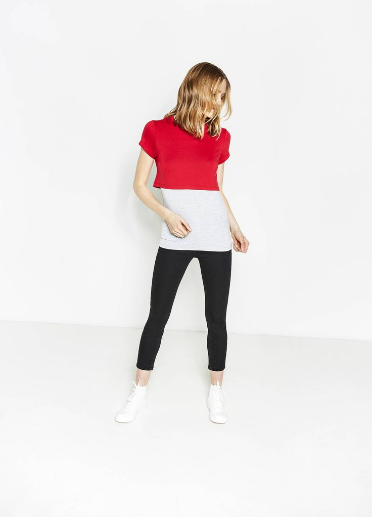Buy online Crop T-shirt in viscose with internal top on OVS. Find the best offers for the category undefined of the collection 2017.