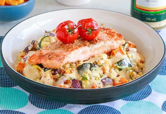 Salmon with warm roast vegetable couscous salad recipe - 9Kitchen