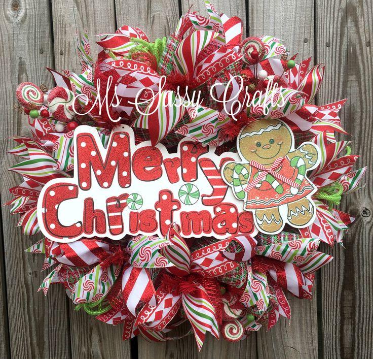 Christmas Wreath - Christmas Deco Mesh Wreath - Gingerbread Wreath - Gingerbread Deco Mesh Wreath - Christmas Candy Wreath - Merry Christmas by MsSassyCrafts on Etsy https://www.etsy.com/listing/249155386/christmas-wreath-christmas-deco-mesh