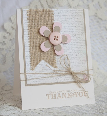 """Simply Sweet """"Thank You"""" Card...with burlap strip & button flower...Kim."""